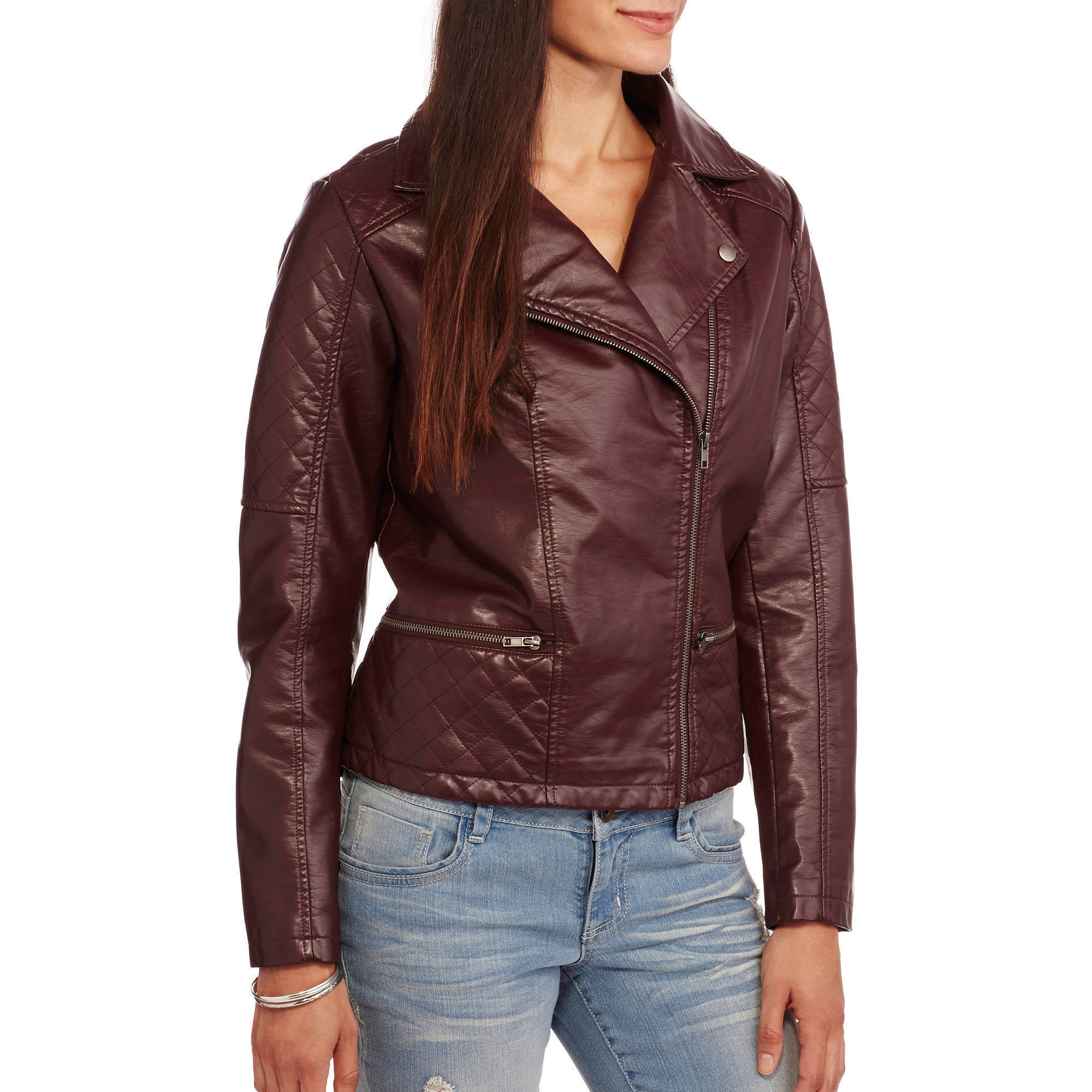 Maxwell Studio Women's Faux Leather Moto Jacket With Removable Fur Collar