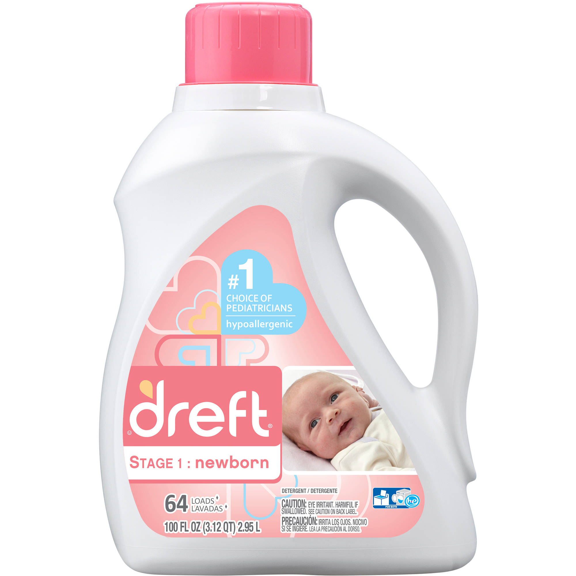 Dreft Stage 1: Newborn Liquid Laundry Detergent, 64 Loads 100 fl oz