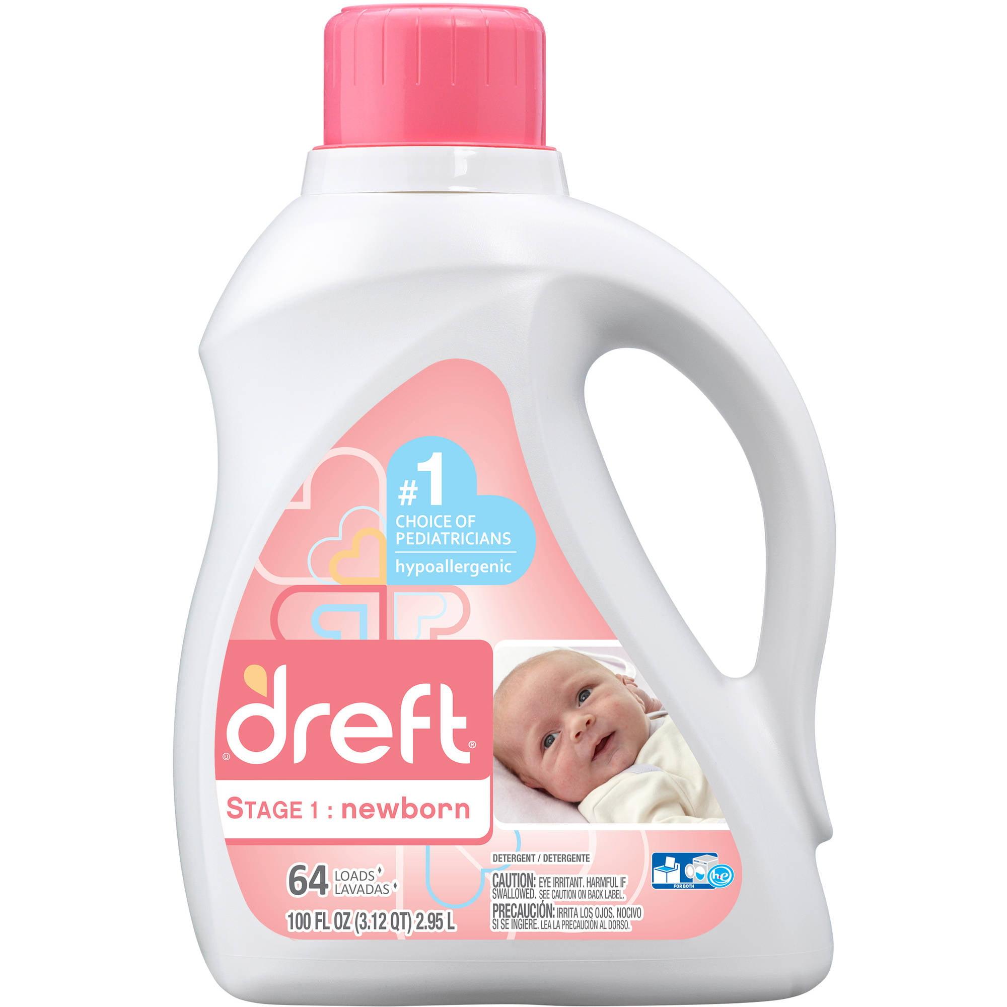 Dreft Stage 1: Newborn Liquid Laundry Detergent, 64 Loads 100 fl oz