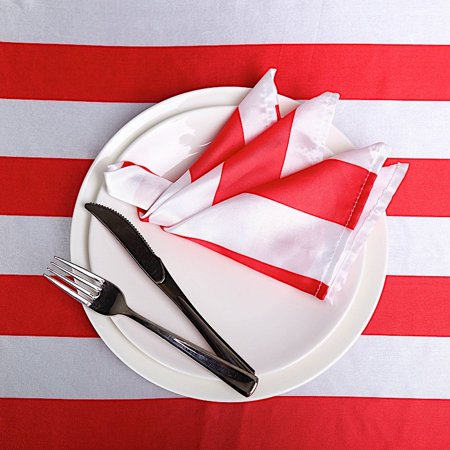 BalsaCircle 5 pcs 20x20-Inch Stripes Satin Table Napkins - Wedding Party Events Catering Dinner Kitchen Home Wholesale - Wholesale Event Decor