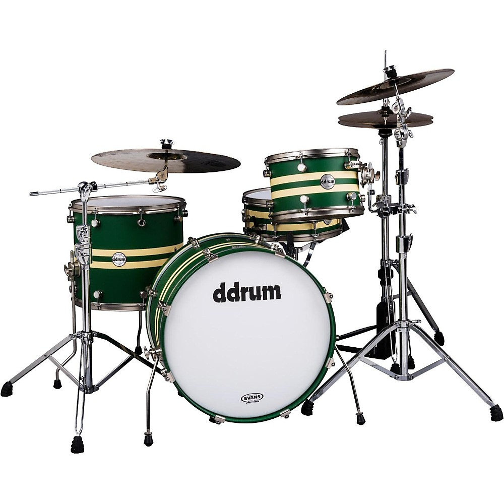 ddrum Reflex Rally Sport 4-Piece Shell Pack, Green with Crème Stripe by ddrum