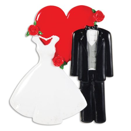 Wedding Dress Tux Heart  Personalized Christmas Ornament DO-IT-YOURSELF