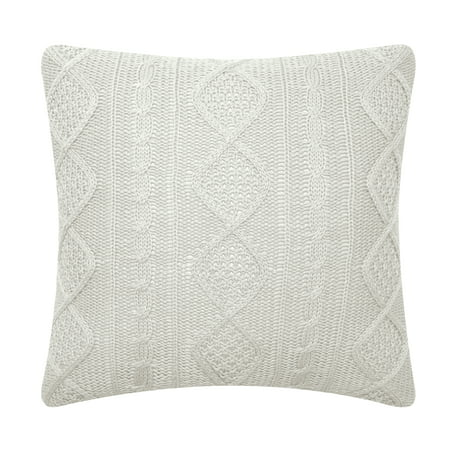 Better Homes & Gardens Feather Filled Wide Cable Knit Sweater Decorative Throw Pillow, 20