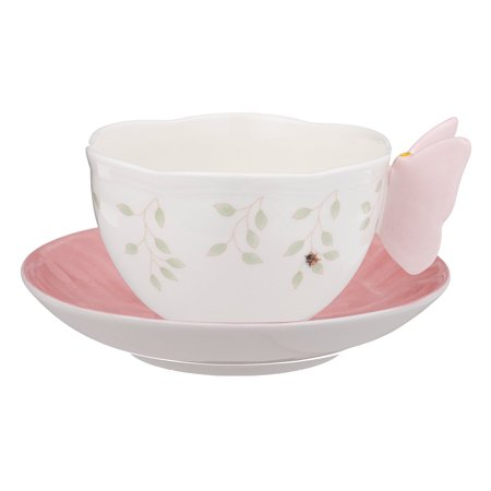 Lenox Butterfly Meadow Pink Porcelain Cup and Saucer with Butterfly - Lenox Butterfly Meadow Bone Porcelain