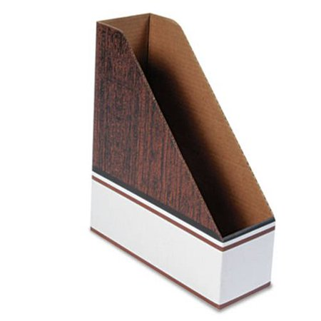 Bankers Box 07224 Corrugated Cardboard Magazine File, 4 X 11 X 12 3/4, Wood Grain, 12/carton