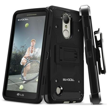 LG Aristo Case, Evocel [Belt Clip Holster] [Kickstand] [Tri Layer] [Textured Body] Trio Pro Series Phone Case for LG Aristo (MS210)/ LG K4 (2017 Release), Black