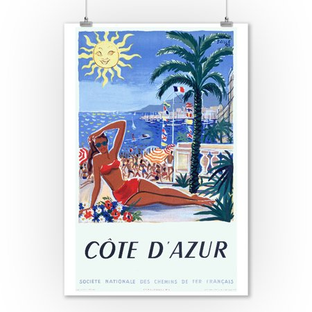 Cote d'Azur Vintage Poster (artist: Baille) France c. 1949 (9x12 Art Print, Wall Decor Travel Poster) ()