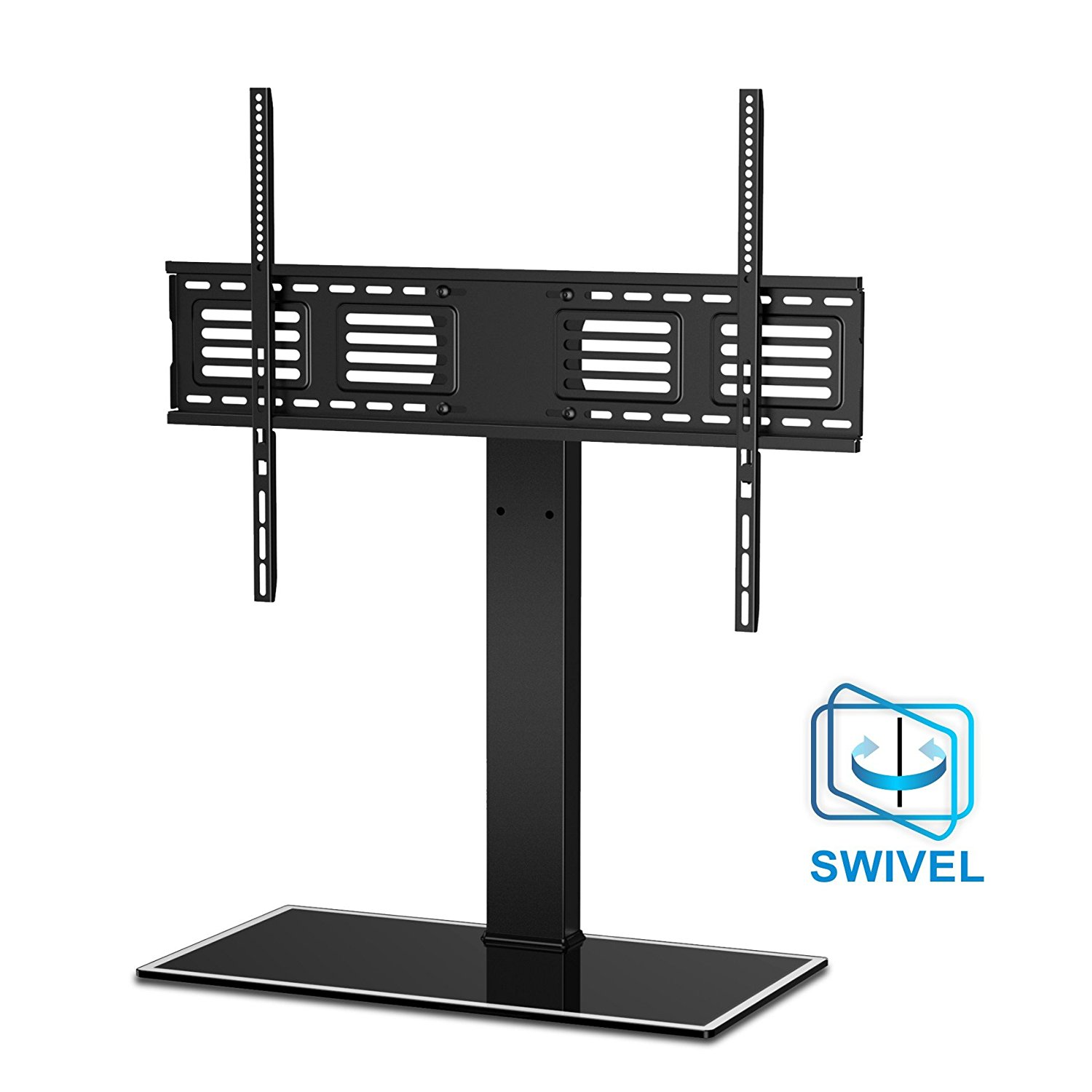 fitueyes universal table top tv stand base with swivel wall mount for 50 to 80 inch