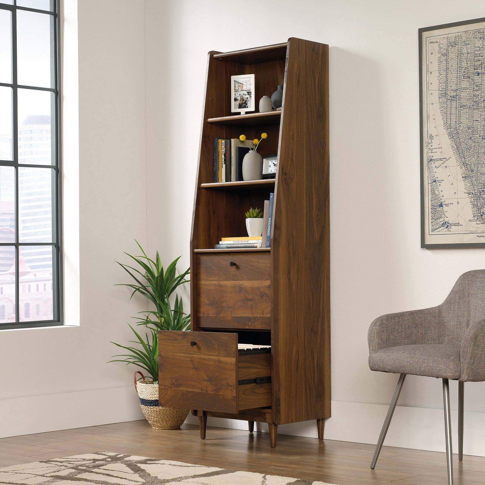 Sauder Woodworking Studio RTA Harvey Park Narrow Bookcase