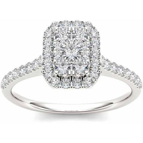 Imperial 3/4 Carat T.W. Diamond Cluster Emerald-Shape Halo 10kt White Gold Engagement Ring
