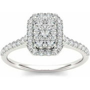 3/4 Carat T.W. Diamond Cluster Emerald-Shape Halo 10kt White Gold Engagement Ring