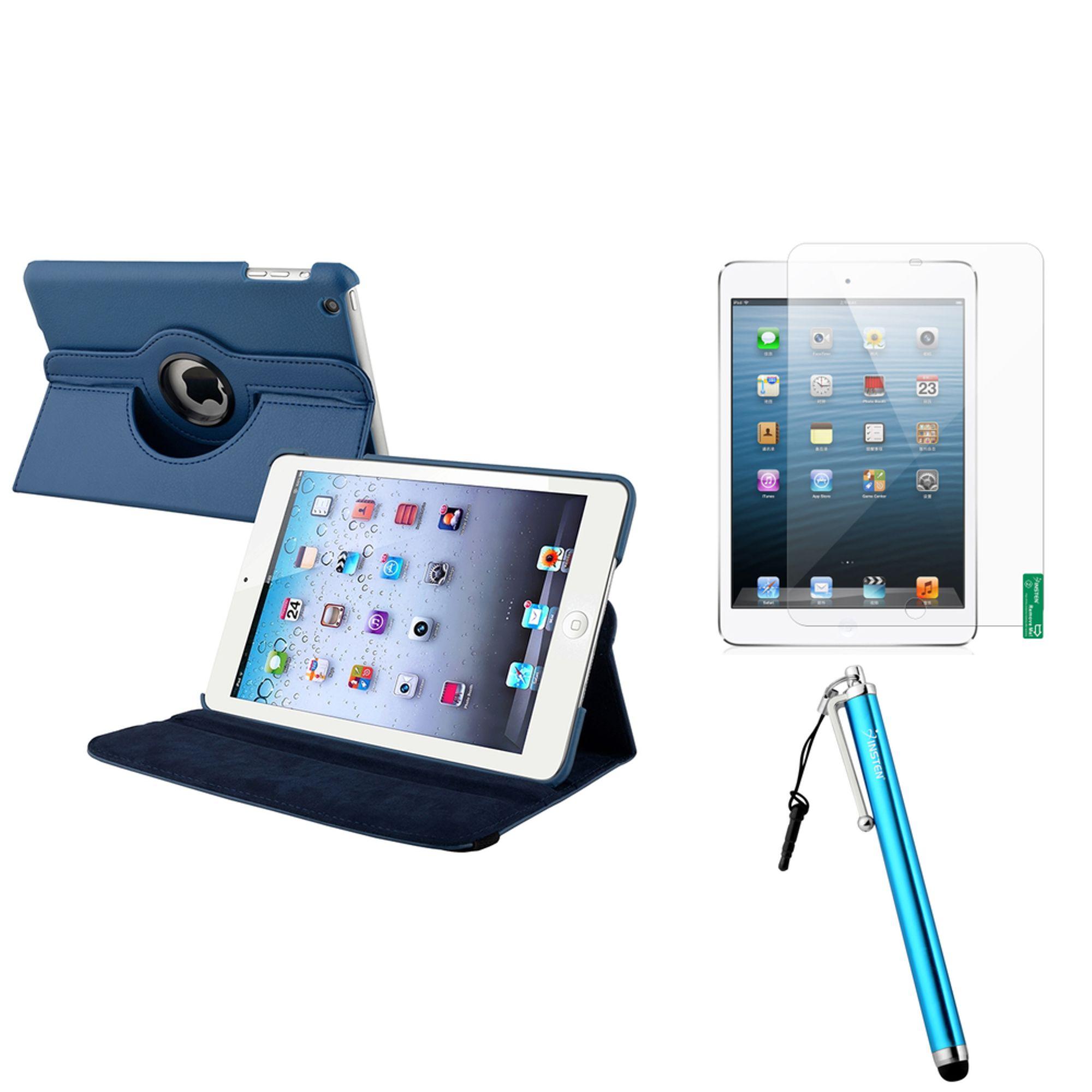 iPad Mini 3/2/1 Case, iPad Mini Case by Insten Navy Blue 360 Leather Case Cover+Matte SP/Pen for iPad Mini 3 2 1