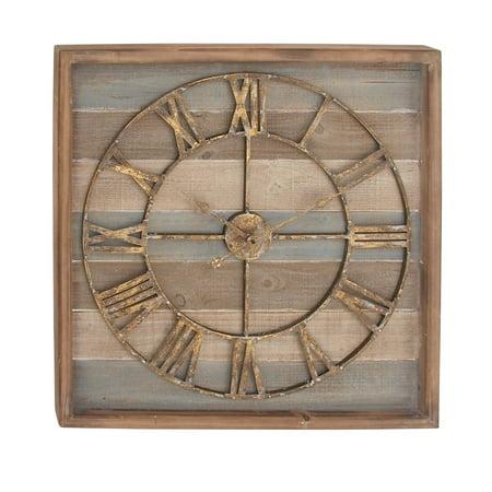 (Decmode 30 X 30 Inch Farmhouse Fir Wood And Metal Stripe Wall Clock, Brown)