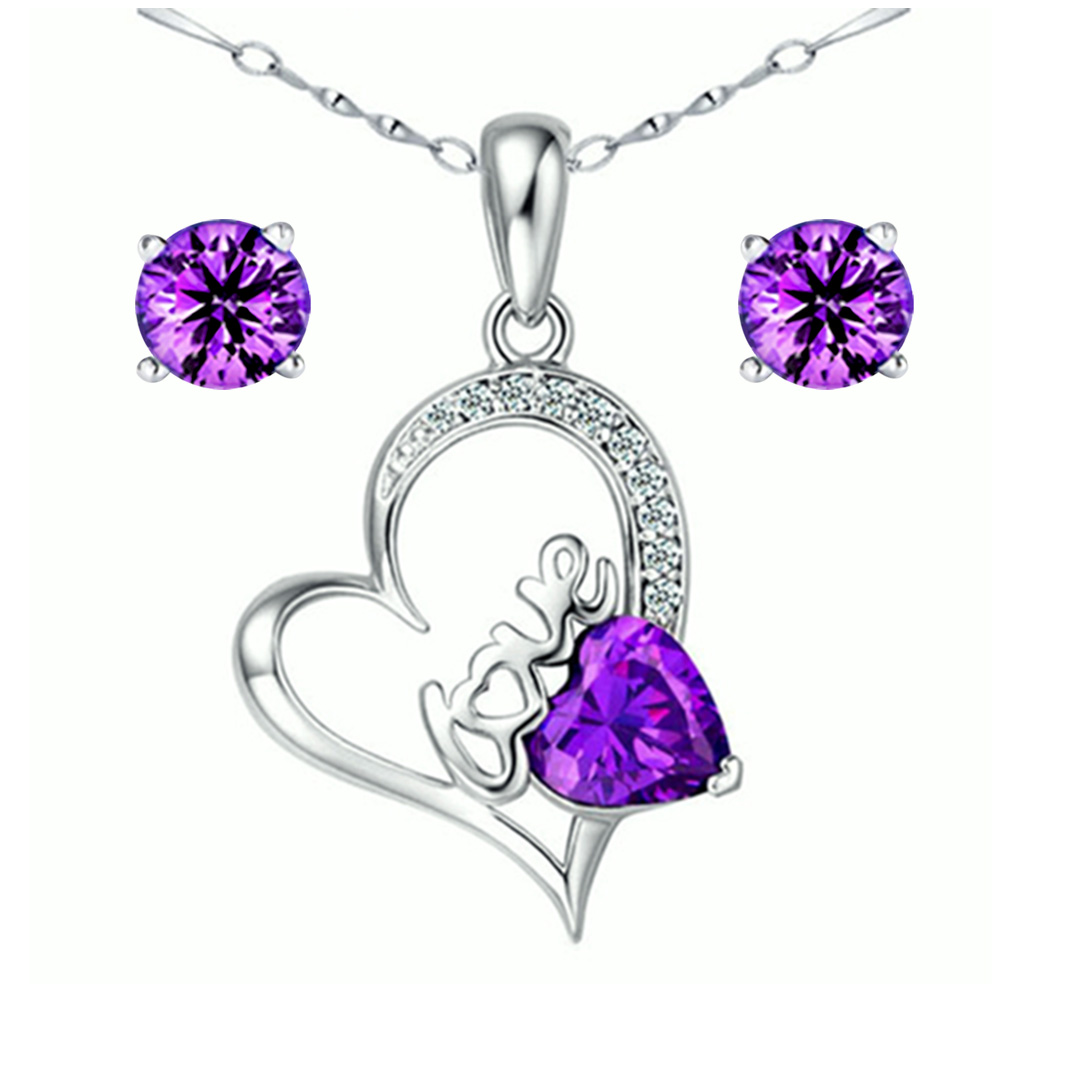 Devuggo Love 1.54 Carat TCW Heart  Created Amethyst 925 Sterling Silver Necklace Pendant and Earrings 3 Pieces Jewelry Set