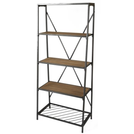 4 Shelf Wooden Bookcase Wood And Metal Bookshelf