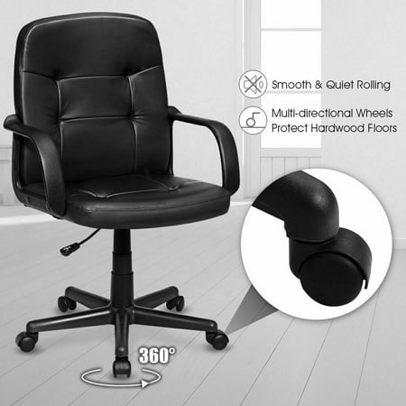 Costway Ergonomic Mid-Back Executive Office Swivel Computer Desk Chair New