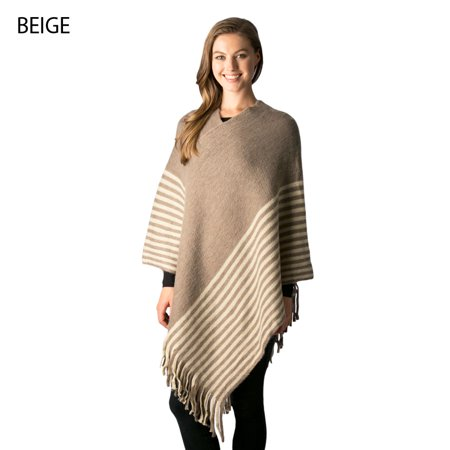 Womens Striped Pattern Style Poncho Sweater Top with Fringe