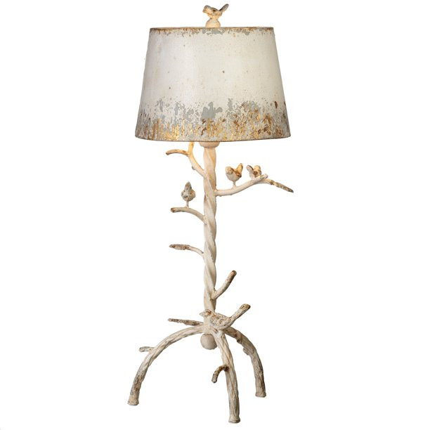 Cbk Metal Distressed Ivory Tree Branch With Birds Table Lamp