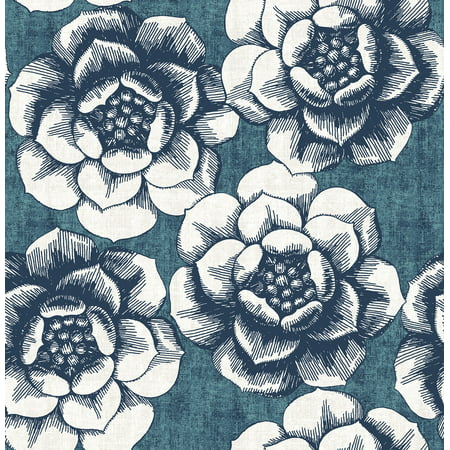 A−Street Prints by Brewster 2763-24238 Moonlight Fanciful Blue Floral Wallpaper