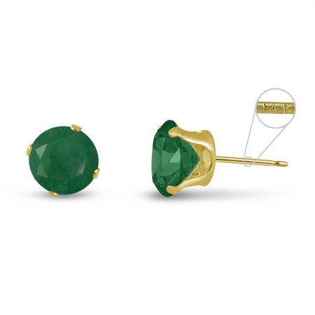 14k Emerald Stud (Round 8mm 14k Yellow Gold Genuine Emerald 3.9 cttw Stud Earrings, May)