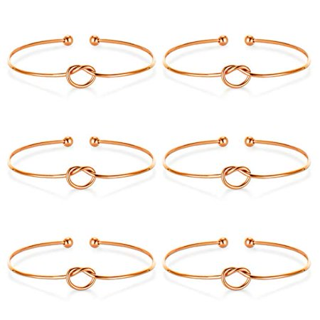 6 Pack I Can't Tie The Knot Without You Bridesmaid Bracelets with Cards Rose Gold Tone](Bridesmaid Bracelet)