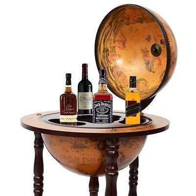"New 17"" Wood Globe Wine Bar Stand 16th Century Italian Liquor Bottle Shelf Rack"
