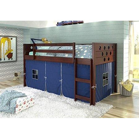 Donco Kids Circle Cappuccino Low Loft With Blue Tent