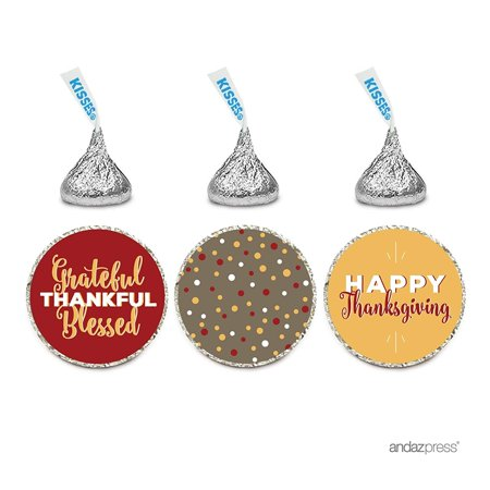 Gourmet Chocolate Favors - Chocolate Drop Labels Trio, Hershey's Kisses Party Favors, Happy Thanksgiving Harvest Pumpkin, 216-Pack