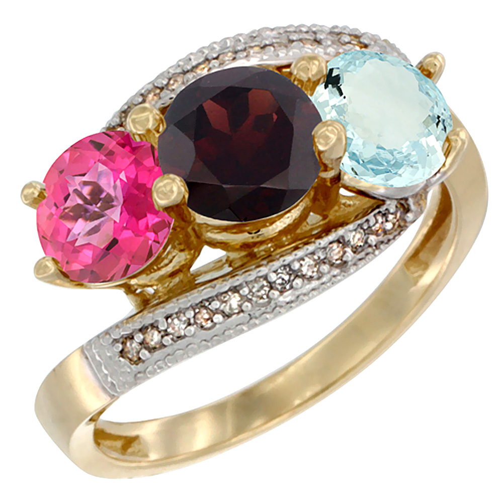 14K Yellow Gold Natural Pink Topaz, Garnet & Aquamarine 3 stone Ring Round 6mm Diamond Accent, size 5 by Gabriella Gold