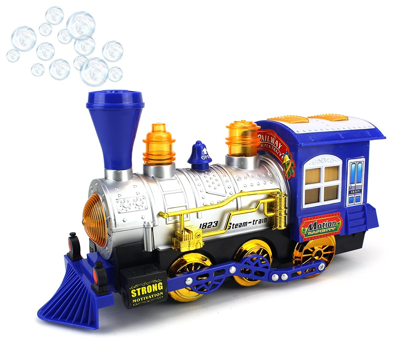 Blue Steam Train Locomotive Engine Car Bubble Blowing Bump & Go Battery Operated Toy Train... by Velocity Toys
