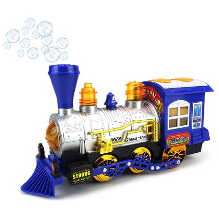 Blue Steam Train Locomotive Engine Car Bubble Blowing Bump   Go Battery Operated Toy Train W  Lights   Sounds  Blue