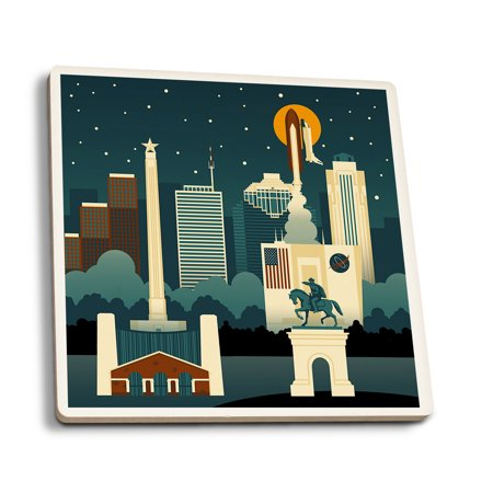 Houston, Texas - Retro Skyline (no text) - Lantern Press Artwork (Set of 4 Ceramic Coasters - Cork-backed, Absorbent)