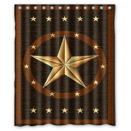 Hellodecor Western Texas Star Shower Curtain Polyester Fabric Bathroom Decorative Curtain Size 60X72 Inches