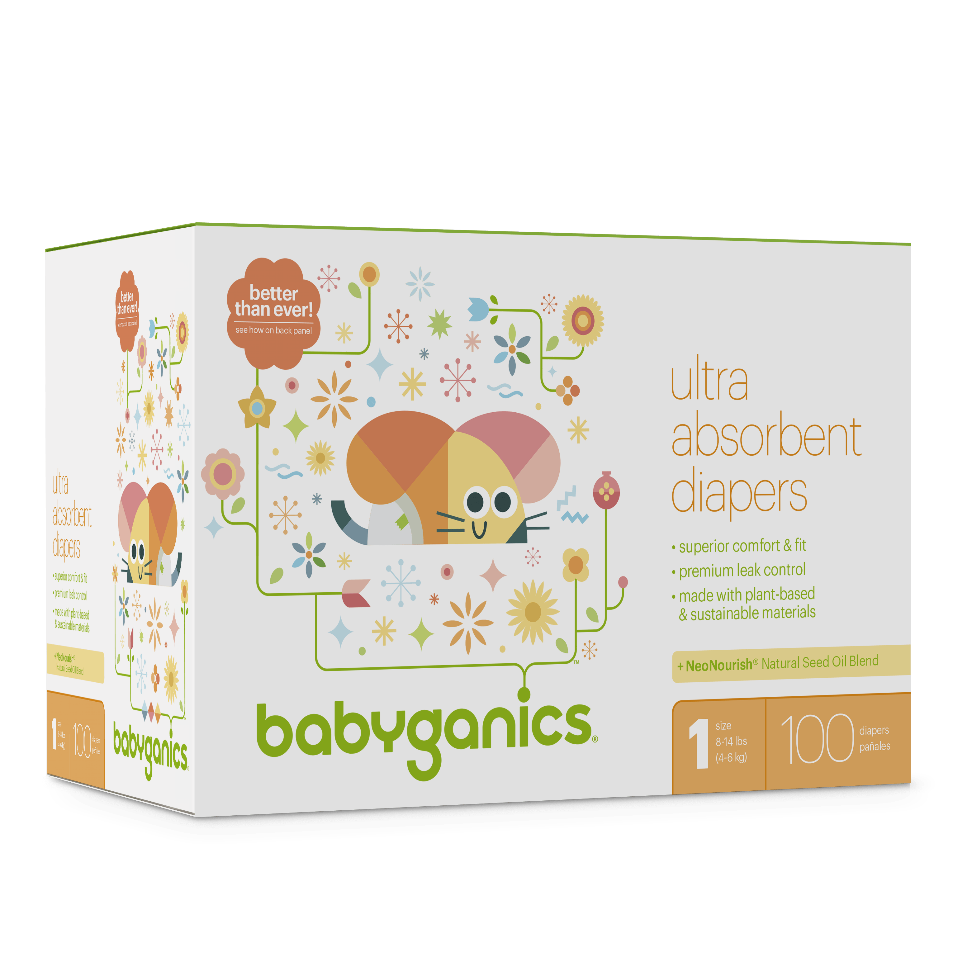 Babyganics Ultra Absorbent Diapers, Size 1, 100 Diapers