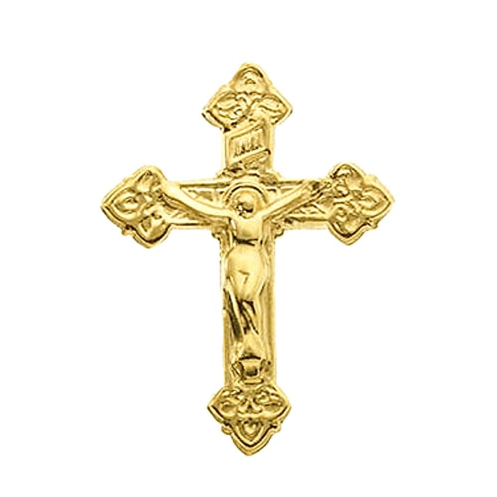 14K Yellow Gold Fleur De Lis Crucifix Pin Brooch by