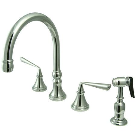 Kingston Brass KS2791ZLBS Widespread Kitchen Faucet Polished Chrome