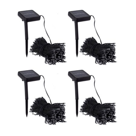 Pack of 4 Kanstar 100 LED 39FT White Outdoor Solar String lights for Garden Wedding Party Lamps ()
