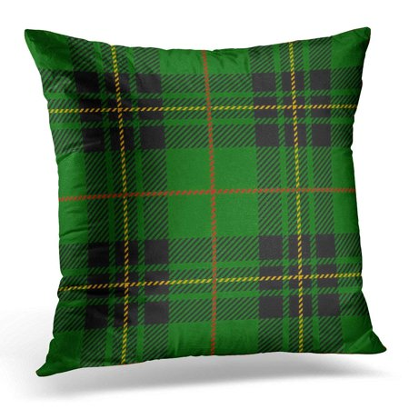 CMFUN Black Abstract Clan Forbes Tartan Plaid Scottish Pattern Green Checkered Pillow Case Pillow Cover 20x20 inch