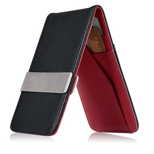 Zodaca Black/Red Mens Faux Genuine Leather Silver Money Clip Slim Wallets ID Credit Card Holder (Gift Idea)