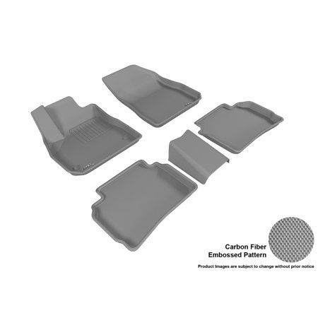 - 3D MAXpider 2016-2017 Chevrolet Malibu Front & Second Row Set All Weather Floor Mats in Gray with Carbon Fiber Look