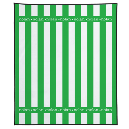 Personalized Summer Stripes Beach Blanket - Green