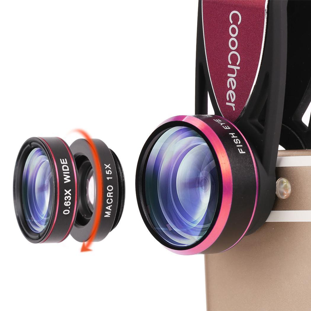 3 in1  Lens Wide Angle Lens Macro Camera Lens Kit Clip On Magnetic Mount for Digital Camera Mobile Phone and Tablet GlSTE