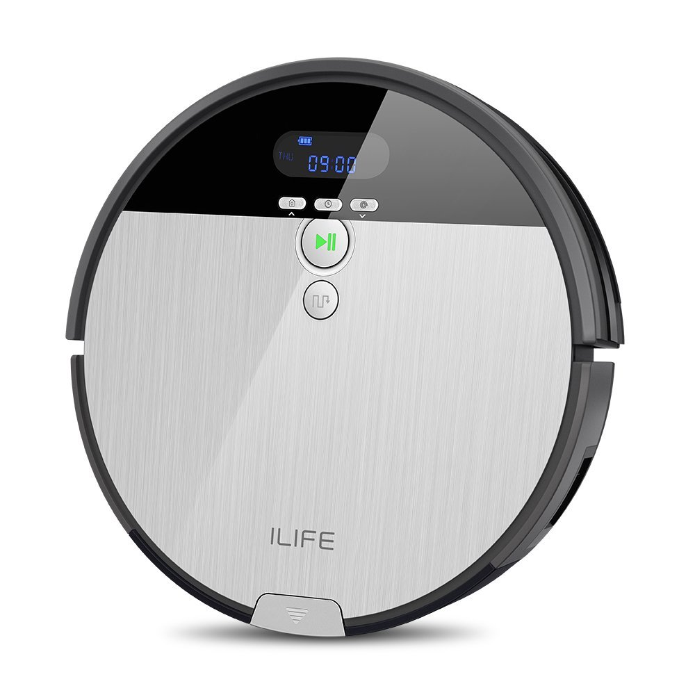 ILIFE V8s Robotic Mop&Vacuum Cleaner with 750ML Big Dustbin, LCD Display and Multi-Task Schedule Function, Higher Suction Power Design for Hard Floors