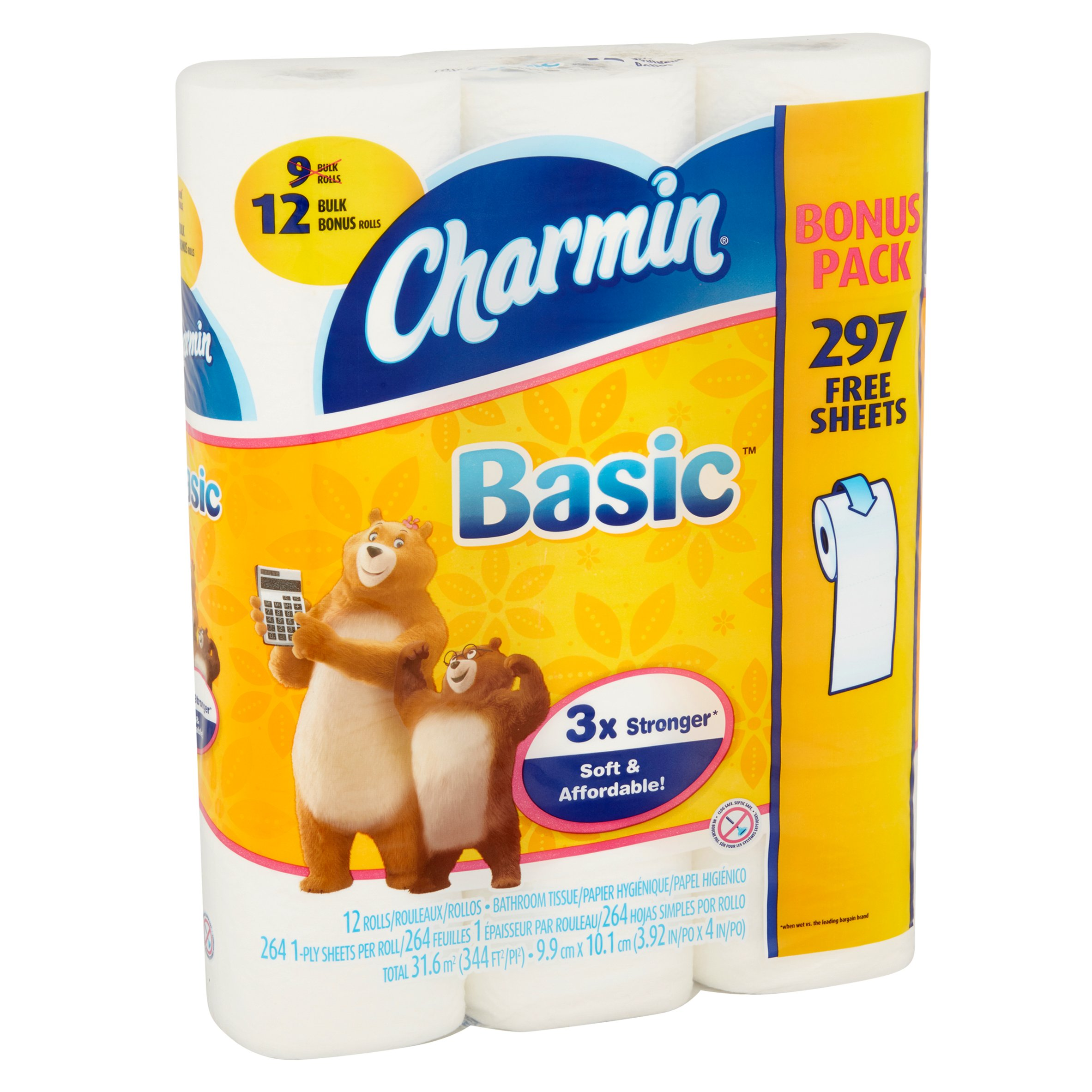 Charmin Basic Bathroom Tissue Rolls, 12 count - Walmart.com
