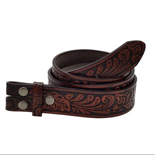 """Napoli Leather SMALL 29""""-31"""" Western Embossed Leather Strap , BROWN"""