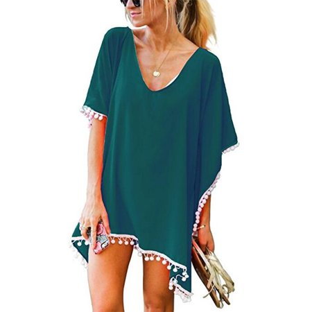 c2409c10c9 SAYFUT - SAYFUT Women Chiffon Tassel Swimsuit Cover up Beach Bikini Stylish  Pompom Tassel Trim Bathing Suit Swimwear Cover ups - Walmart.com