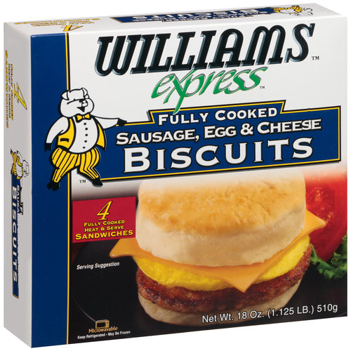 Williams Express Fully Cooked Sausage, Egg & Cheese Biscuits, 18 oz