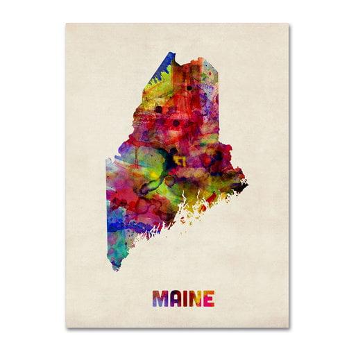 """Trademark Fine Art """"Maine Map"""" Canvas Wall Art by Michael Tompsett"""