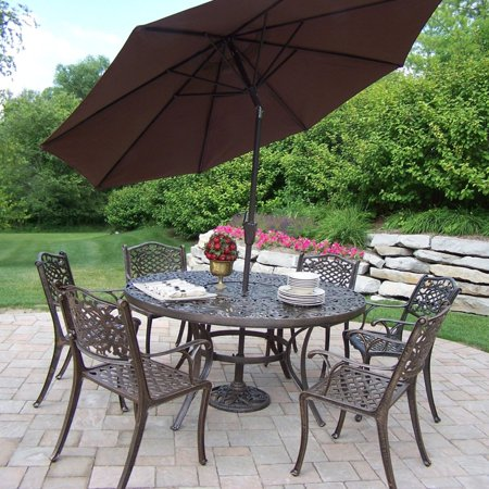 cast aluminum 60 in patio dining set with tilting umbrella and stand