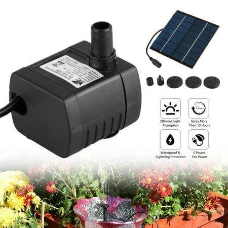 - 1.2W Solar Fountain Submersible Water Pump for Bird Bath Solar Panel Kit Outdoor Fountain for Small Pond, Patio Garden (Square),4 types of sprinkler heads for different water flows and water heights